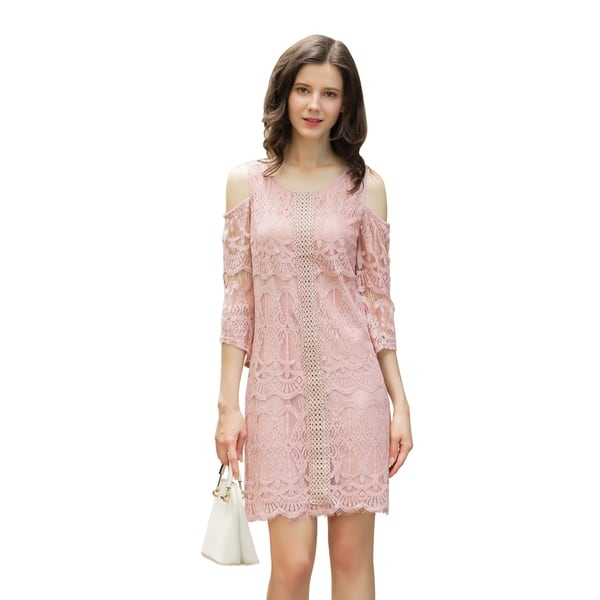 6c2453523f UP Ultrapink Junior Womens Lined Lace Dress 3 4 Sleeve Cold Shoulder Shift  Dress