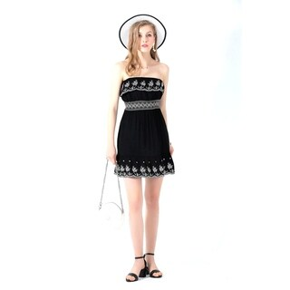 Ultrapink Juniors & Womens Stylish Tube Dress Smocked Waist Embroidery at bust and hem