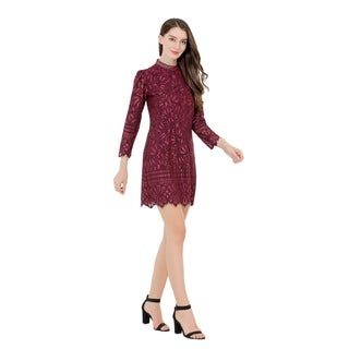UP Ultrapink Missy Womens Two Tone Long Sleeve Lace Dress Mock Neck Lined