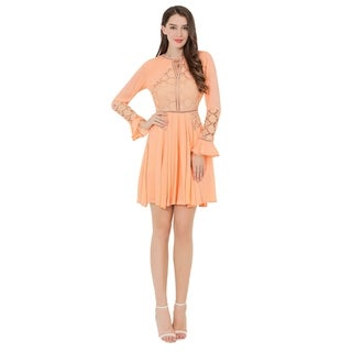 UP Ultrapink Missy Womens Crinkle Gauze Dress With Lace Inserts (More options available)