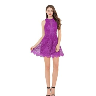 UP Ultrapink Junior Womens Halter Branded Mock Neck Sleeveless Lace Dress Lined (More options available)