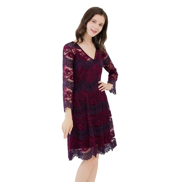 069746d6af UP Ultrapink Missy Womens Two Tone Long Sleeve V Neck Lace Dress Lined