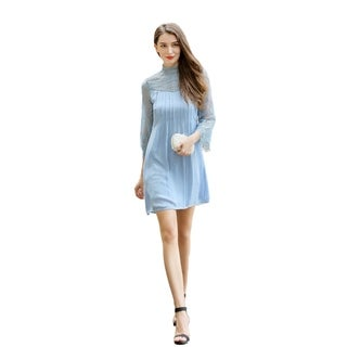 UP Ultrapink Missy Womens Crepe Long Sleeve Lined Dress With Pintucks (More options available)