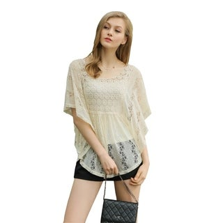 Ultrapink Missy Womens Flutter Sleeve Allover Lace Blouse with Crochet Insert (3 options available)
