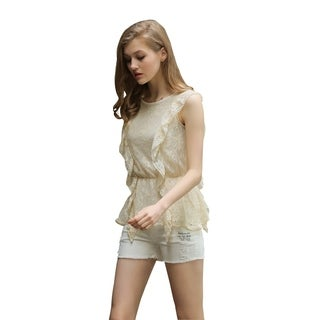 Ultrapink Missy Womens Ivory Sleeveless Peplum Top, Allover Lace Ruffle Front