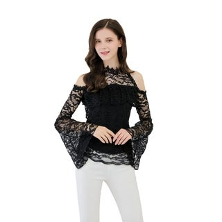 UP Ultrapink Junior Womens Lace Blouse Ruffle At Bust Crochet Trimmed Halter (More options available)