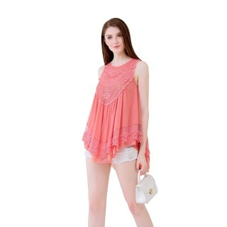UP Ultrapink Juniors & Womens Babydoll Top in Double Layered Mesh Crochet Bib