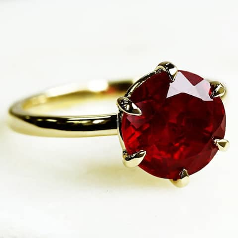 Annello by Kobelli 14k Gold Created Red Ruby 6-Prong Solitaire Ring