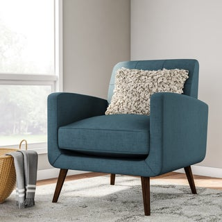 Carson Carrington Keflavik Mid Century Peacock Blue Linen Arm Chair