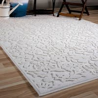 Maison Rouge Joaquin Ivory Floral Natural Flatweave Outdoor Area Rug - 7'9 x 10'10