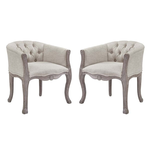 Shop Crown Vintage French Upholstered Fabric Dining Armchair Set Of