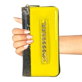 Gold-Tone Chain Faux Leather & Snake Skin Zip Around Wallet (Option: Yellow)