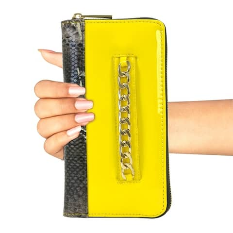 Gold-Tone Chain Faux Leather & Snake Skin Zip Around Wallet
