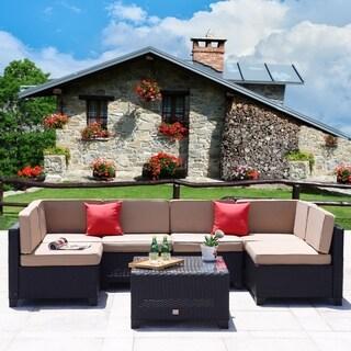 7 PC Patio PE Black Rattan Wicker Furniture Sectional Sofa Set