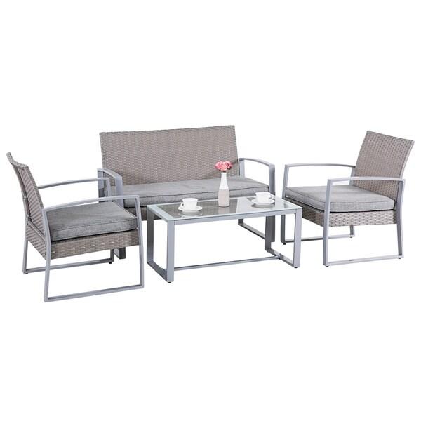4 PC Rattan Furniture Set Cushioned Outdoor Conversation Wicker Patio Steel  Wicker Garden Lawn Sectional Sofa