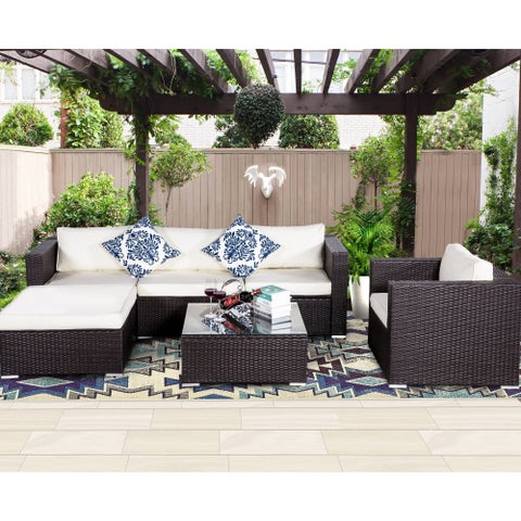 6 PC brown Rattan Furniture Outdoor Set with cream cushion