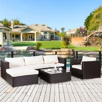 6 PC Wicker Resin Sectional Sofa Chocolate Ergonomic Comfortable Modern Outdoor Patio Furniture Set