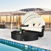 4 PC Patio Rattan Canopy Daybed Outdoor Cushioned Wicker Daybed Set Round Retractable Garden Lawn Sectional Sofa Furniture
