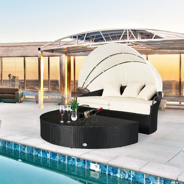 Shop Round Daybed Outdoor Wicker Furniture Canopy Retractable Garden