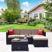 5PC Rattan Wicker Cushioned Sectional Outdoor Garden Patio Sofa Sofa Set Loveseat