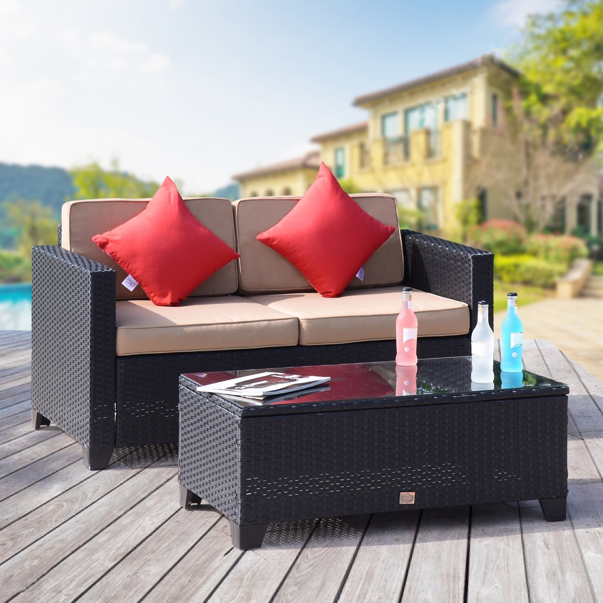 Shop Black Friday Deals On 2 Pc Rattan Furniture Bistro Set Outdoor Wicker Patio Garden Loveseat Glass Top Table Black Rattan With Khaki Cushions Overstock 20755184