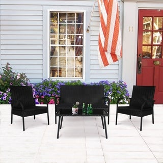 4 PC Wicker Rattan Conversation Set Black Modern Fashion Style Comfortable Non-Slip Outdoor Garden Set