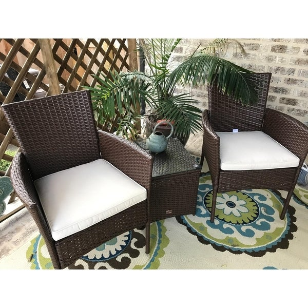 3 Piece Outdoor Patio Chair Set Coffee Table, Brown Rattan with Beige Cushion