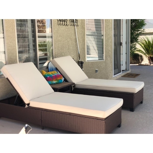 Chaise Lounge Outdoor.Shop 3 Pc Outdoor Rattan Chaise Lounge Chair Patio Pe Wicker Rattan