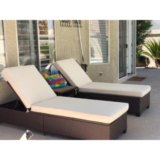 3 Pc Outdoor Rattan Chaise Lounge Chair Patio Pe Wicker Furniture Adjule Garden Pool