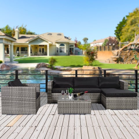 6 PC Gray Rattan Furniture Outdoor Conversation Set with Black Cushion