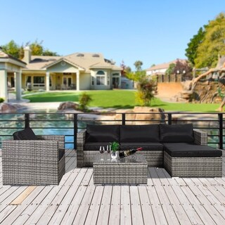 6 Piece Gray Rattan Furniture Outdoor Conversation Set with Black Cushion