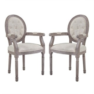 Arise Vintage French Upholstered Fabric Dining Armchair Set of 2