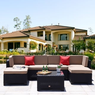 7 Piece Patio PE Rattan Backyard Sectional Furniture Patio Garden Wicker Sectional Sofa Set