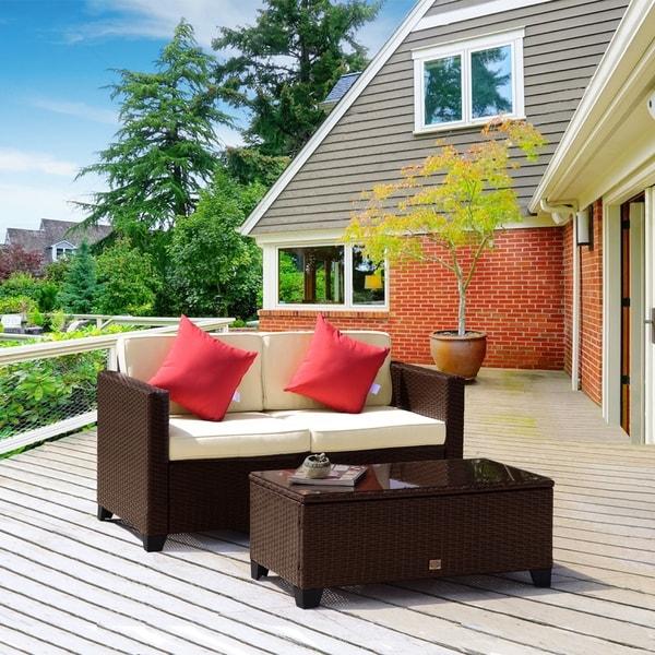 Patio Furniture Thanksgiving Sale: Shop 2 Piece Wicker Resin Patio Loveseat Sofa Brown