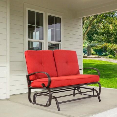 2 Person Brick Red Loveseat Lounge Glider Chair Furniture
