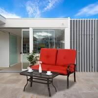 2 Piece Garden Patio Love Seat Bench Sofa Set with Cushion, Brick Red