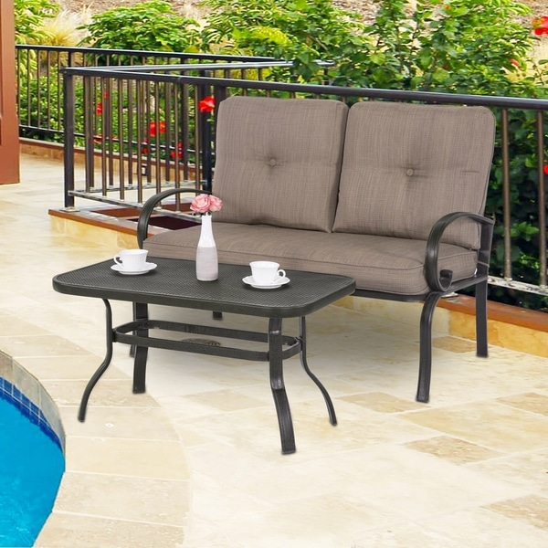 2 Piece Outdoor Loveseat Furniture Bistro Set Garden Patio Metal Coffee Table Bench Sofa With Cushions, Gradient Brown