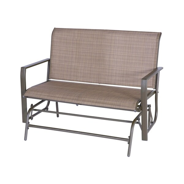 2 Person Patio Glider Bench Outdoor Swing Loveseat Rocking Seating Patio Swing Rocker Lounge Glider Chair, Tan