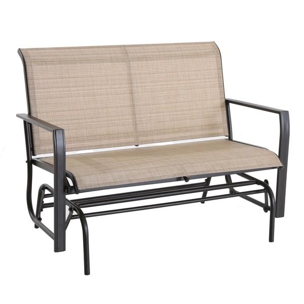 2 Person Patio Swing Rocker Lounge Glider Chair, Tan