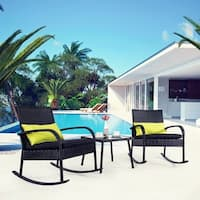 3 PC Chair Wicker Set, Black Rattan with Black Cushion