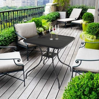 """28"""" x 28"""" Outdoor Dining Table Square Patio Bistro Table Powder-coated Steel Frame Top Umbrella Stand Deck Outdoor Garden"""