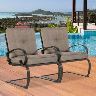 2 Patio Club Chairs Outdoor Dining Chairs Wrought Iron Set Garden Dining Bounce Seating Chair, Gradient Brown