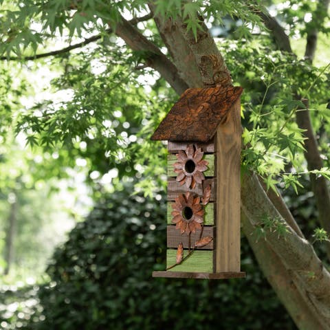 """Glitzhome 14.45""""H Hanging Two-Tiered Distressed Solid Wood Birdhouse With Flowers"""