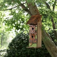"Glitzhome 14.45""H Hanging Two-Tiered Distressed Solid Wood Birdhouse With Flowers"