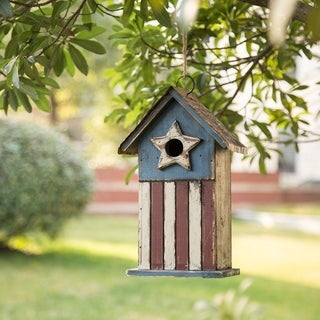 """Glitzhome 11.81""""H Solid Wood Distressed Birdhouse"""