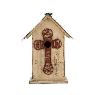 "Glitzhome 11.02""H Distressed Solid Wood Birdhouse w/Cross"