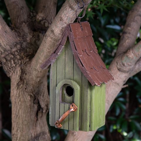 Glitzhome Green Hand Painted Distressed Wooden Decorative Birdhouse