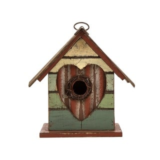 """Glitzhome 8.66""""H Distressed Solid Wood Birdhouse w/Heart"""
