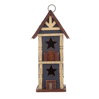 "Glitzhome 12.60""H Solid Wood/Metal Birdhouse"