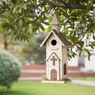 "Glitzhome 16.14""H Wooden Church Bridhouse"